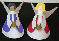 Use plain paper or fancy prints to make these fun and easy paper cone angels.