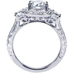 Vintage Halo 3-Stone Plus 2.35cttw Diamond Engagement Ring with Trapezoid Side Diamond