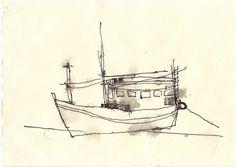 """MISATO SUZUKI """"Raku"""" 2003 4"""" x 6.5"""" Ink on Paper"""