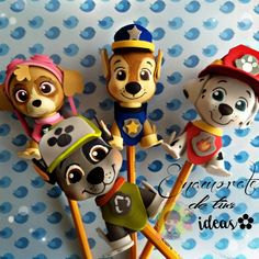 Paw Patrol Party, Paw Patrol Birthday, Foam Crafts, Diy And Crafts, Mousse, Flower Pens, Pencil Toppers, Fimo Clay, Pasta Flexible