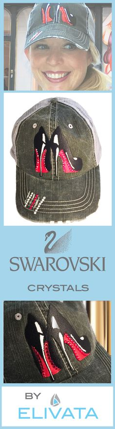 Christian Louboutin illustration distressed trucker hat.  The perfect gift for Louboutin lovers.  Black Louboutin shoes with Swarovski Crystals lining the red heels.