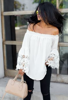 White converse with ripped black skinnies and a white off the shoulder lace shirt is the perfect casual look! Via Sheryl Luke  Top: Lord and Taylor, Jeans: J Brand, Shoes: Converse, Bag: Coach, Sunnies: Foster Grant