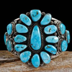 Mary Morgan Navajo Turquoise Cluster Bracelet Sterling Silver Native American | eBay