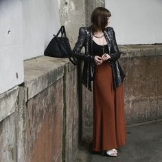 w/ flared trousers but could work with a maxi dress