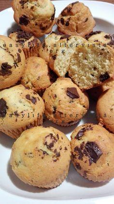 Golosissimi muffin con scaglie di cioccolato fondente