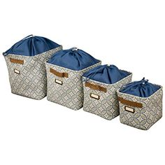 Canvas Storage Bins With Rope Handles U0026 Drawstring Liner (Set Of 4) Blue  Raymond