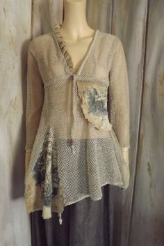 Lagenlook Boho Cotton Mesh Tunic Upcycled by bluemermaiddesigns