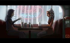Ahsoka n Barriss dining at Dex by Raikoh-illust.deviantart.com on @deviantART