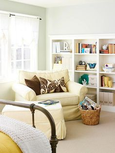 Incorporate multipurpose storage solutions into your bedrooms, too. We love the wall of bookshelves in this space!