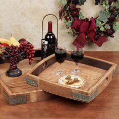 The Vino Serving Tray is a unique way to show your appreciation for fine wine - right down to the barrel. Tray has sides made from recycled wine barrel staves.