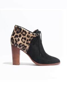 Madewell et Sézane Leopard-accented Front-tie Boots