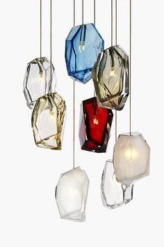 Blown glass pendant lamp Crystal Rock by Lasvit Interior Lighting, Modern Lighting, Lighting Design, Modern Lamps, Luxury Lighting, Italian Lighting, Shop Lighting, Lighting Ideas, Deco France