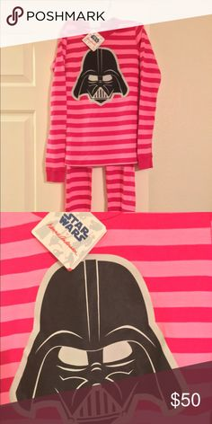 BNWT Hanna Andersson girls PJs 💕 Star Wars 100% Organic Cotton girls PJs. Great quality product. Dark pink and light pink striped with Darth Vader on front of top. No returns and no trades. Hanna Andersson Pajamas Pajama Sets