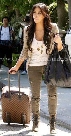 Kim Kardashian Style and Fashion - Current/Elliott The Skinny Cargo Jeans - Celebrity Style Guide