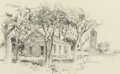 "EDWARD MUEGGE ""BUCK"" SCHIWETZ (American, 1898-1984) Old Baptist Church, Independence, Texas,1951 Pencil on paper, each"