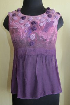 Nuno felted topblouse pink lilac purple chiffon door FeltBench, $100.00