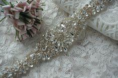 Rhinestone Crystal Wedding Sash, Rhinestone Wedding Dress Sash Applique, Crystal Bridal Belt, Wedding Accessories, Jeweled Belts, Sashes