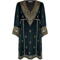 Alice + Olivia Ray Embroidered Long Sleeve Dress (1,165 CAD) ❤ liked on Polyvore featuring dresses, long sleeve v neck dress, v-neck dresses, embroidered dress, embroidery dress and blue long sleeve dress