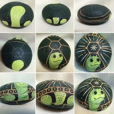 #Paint a #Turtle on a Rock for Your Patio!  These can be any color and size you want!!! Go simple or add super detail.  My next one will be painted with pearl acrylics . Be sure to coat with an indoor outdoor satin finish protectant. I prefer the brush on finish. Painting Animals On Rocks, Painting On Rocks Ideas, Painted Rock Animals, Turtle Painting, Pebble Painting, Pebble Art, Stone Painting, Painting Tips, Satin Finish