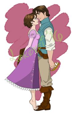 Rapunzel and Flynn Rider Disney Rapunzel, Disney Princes, Arte Disney, Disney Couples, Disney Fan Art, Disney Love, Disney Magic, Tangled Rapunzel, Disney Sketches
