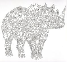 Rhino Colouring Page