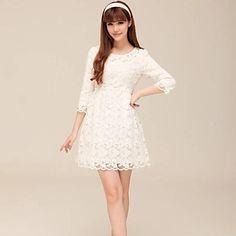 Women's Round Collar  White Lacework Fashion Elegant Mini Dress