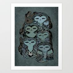 Night Owls Art Print by Jewelwing - $16.00