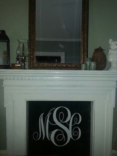 Three Panel Monogram Oval Marble Inset Iron Initial Fireplace ...