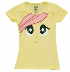Amazon.com: My Little Pony Fluttershy Big Face Yellow Juniors T-shirt: Clothing