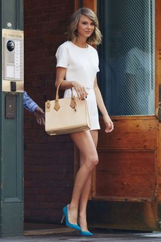 Derek Blasberg selects the 10 best dressed celebrities of the week: Taylor Swift steps out in blue pumps and a chic white look in NYC.