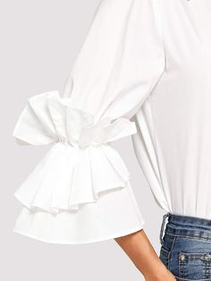 Layered Ruffle Sleeve Shirt