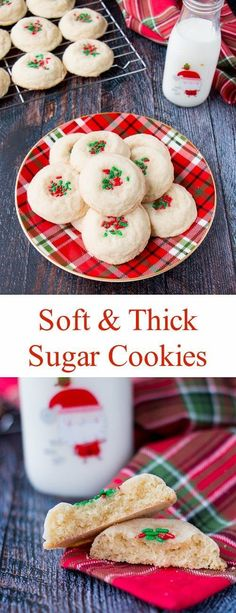 These soft and thick sugar cookies are nice and chewy with the perfect amount of sweetness. No chilling required, just make and bake! #sugarcookies #softsugarcookies #bestsugarcookies #Christmascookies #chewysugarcookies #thicksugarcookies