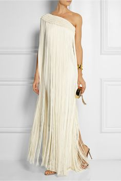 Temperley London | Long Tassel fringed silk-crepe gown | Gorg