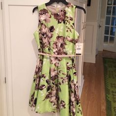 NWT Gorgeous floral fit & flare dress Summery petite-medium pear-green dress with large brown & taupe flowers. Fabric has a gorgeous silk-like sheen. Fully lined, new with tags. Julian Taylor New York Dresses