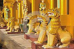 pagodas in yangon | Lion Sculpture In Schwedagon Pagoda, Yangon , Myanmar. Stock Images ...