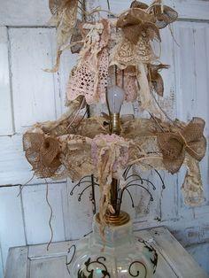Handmade lamp shade fabric shabby chic burlap by AnitaSperoDesign