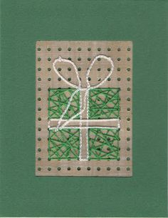 Stitched Gift Christmas card by welaughindoors