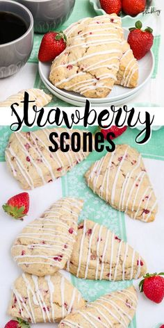These tasty strawberry scones are packed with fresh strawberries and bursting with flavor! They are buttery and flakey and drizzled with a sweet vanilla glaze. Pick a quart of red, ripe strawberries and make this bakery quality treat for your family and friends! Best Breakfast Recipes, Savory Breakfast, Brunch Recipes, Breakfast Ideas, Summer Recipes, Sweet Recipes, Snack Recipes, Dessert Recipes, Pastry Recipes
