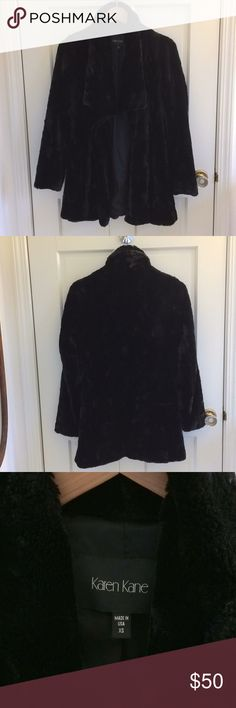 """Fabulous glam plush coat Super fabulous and glam yet soft and plushy, I get tons of compliments when I wear it!  Waterfall style jacket/coat in a crushed plush faux fur fabric, drapes beautifully, note no buttons or closure.  Sized XS but is cut to fit a little loose.  Great condition.  Shoulder to hem 30"""". Karen Kane Jackets & Coats"""