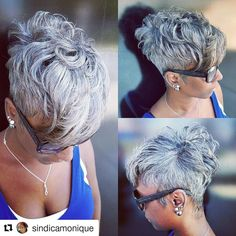 She makes me want to cut off my hair! When you're just born with it , own it! Young and Grey ☀ Short Sassy Hair, Short Grey Hair, Short Hair Cuts, Pixie Cuts, Pixie Hairstyles, Cool Hairstyles, Hairstyles Videos, Everyday Hairstyles, Formal Hairstyles