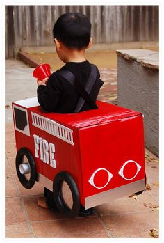 tractor halloween costume | Then I cut and fastened straps from ribbon to fit it comfortably at ...