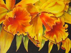 Golden Orchids on  silk. Michele Shute