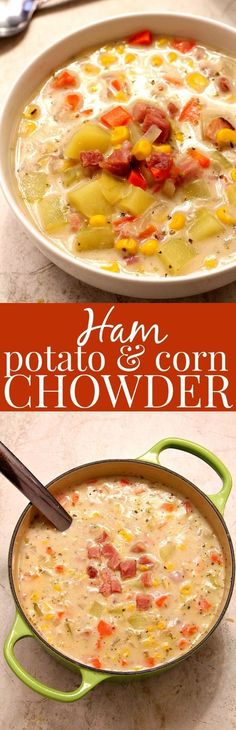 Ham Potato and Corn Chowder – thick and creamy chowder with leftover ham, potatoes and corn. Lightened up with milk instead of cream and made in 20 minutes!
