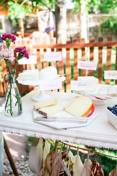 Backyard summer engagement party featured on 100layercake.com  Photography: Connie Dai Photography / Event Design: A Vintage Affair Events & Rentals / Floral Design: Bare Root Flora / Lighting: Lighting and Design by Scott / Linens: La Tavola