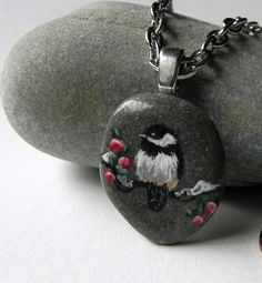 "CHICKADEE  BIRD Hand Painted STONE Rock Pendant Silver  24"" Rolo Chain"