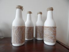 Upcycled White Lace Bottles by WolfWitchCreations on Etsy
