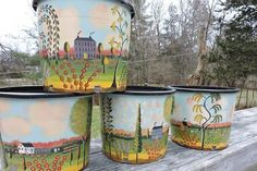 Rufus Porter style folk art on interesting items like sap buckets, galvanized tubs, old milk crates, vintage breadboards, and tins. Galvanized Tub, Milk Crates, Wooden Chest, Primitive Folk Art, Paint Ideas, Wall Murals, Colonial, Art Decor, Crafts