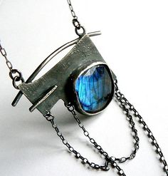 labradorite sterling silver necklace by jolantakrajewska on Etsy Gothic Jewelry, Modern Jewelry, Metal Jewelry, Pendant Jewelry, Jewelry Art, Silver Jewelry, Jewelry Necklaces, Jewelry Design, Jewellery