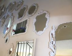Mirror, Mirror on the Wall. I want to do something like this in my bathroom with a wall full of mirrors in pretty frames of all shapes and sizes. Mirror Wall Collage, Mirror Mirror, Mirror Walls, I Love Mirrors, Ballet Barre, Vintage Mirrors, Home Board, Room Decor, Wall Decor