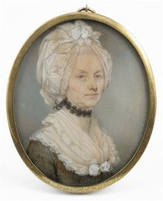 Jeremiah Meyer, R.A. (1735-1789) An elderly lady, head and shoulders, facing right in a brown dress, lace bonnet and black choker Oval, in a brass locket frame 85 x 67mm Provenance: Limner Antiques, 21st March 1978, with invoice